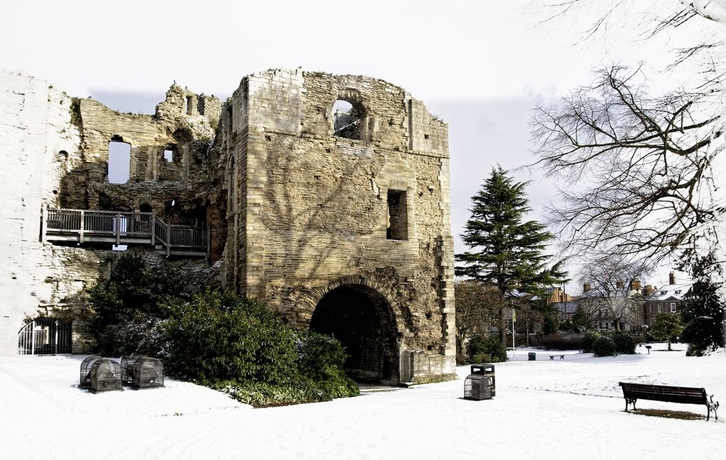 Newark Castle in Snow by Adrian Watson